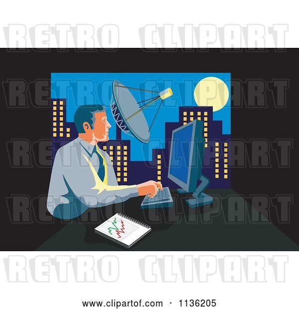 Vector Clip Art of Retro Business Man Working on a Computer in an Urban Office