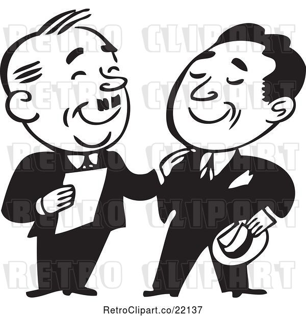 Vector Clip Art of Retro Business Men Standing and Talking