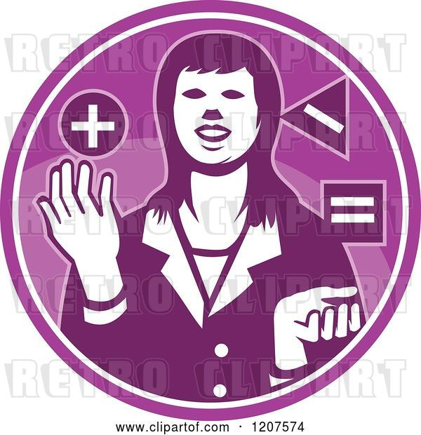 Vector Clip Art of Retro Business Woman Juggling Shapes in a Purple Circle