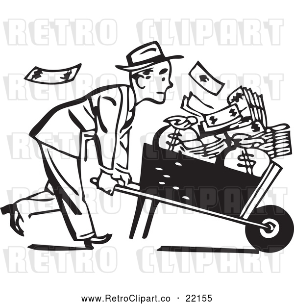 Vector Clip Art of Retro Businessman Pushing a Wheel Barrow of Cash to the Right