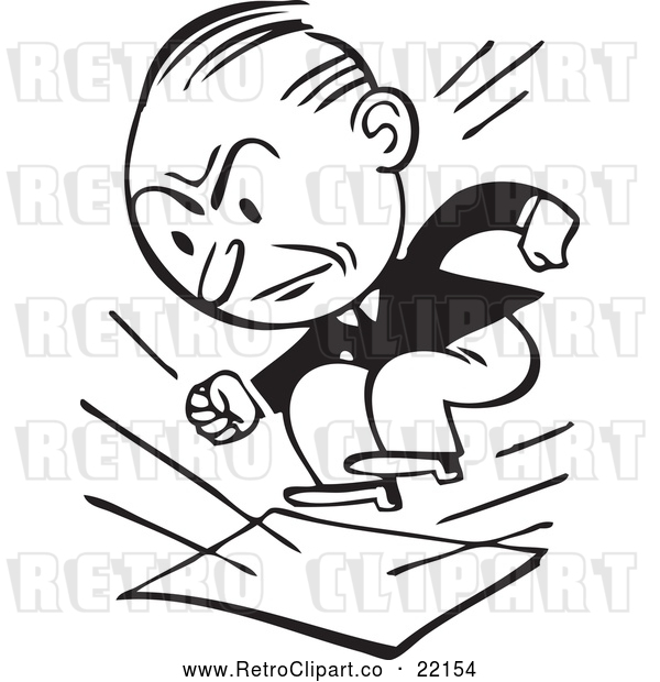 Vector Clip Art of Retro Businessman Stomping on Documents