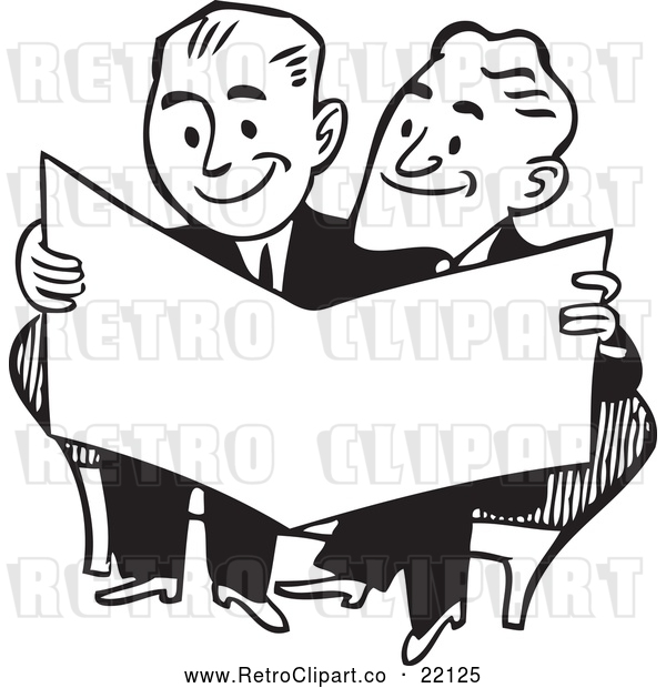 Vector Clip Art of Retro Businessmen Reading a Paper