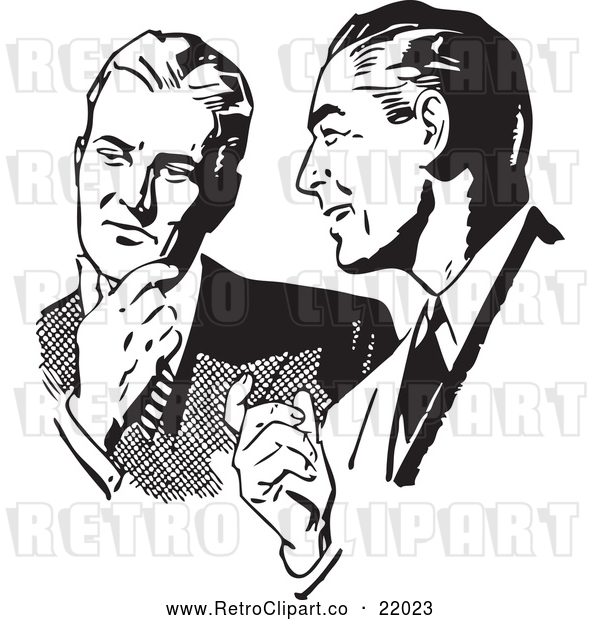 Vector Clip Art of Retro Businessmen Talking About an Idea