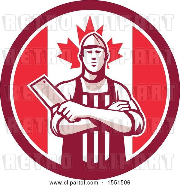 Vector Clip Art of Retro Butcher Holding a Cleaver in Folded Arms Inside a Canadian Flag Circle