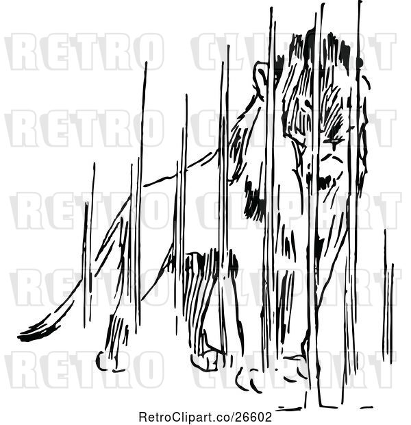 Vector Clip Art of Retro Caged Lion