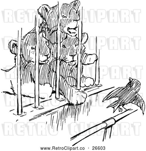 Vector Clip Art of Retro Caged Lion Cubs and a Bird