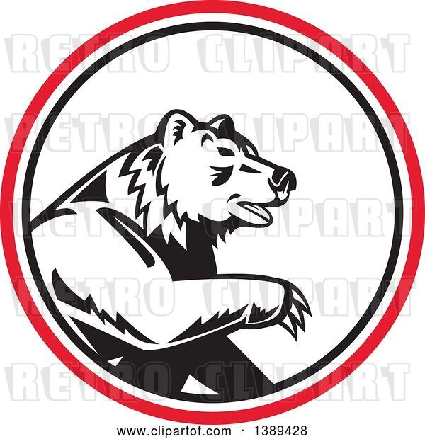 Vector Clip Art of Retro California Grizzly Bear in a Black White and Red Circle
