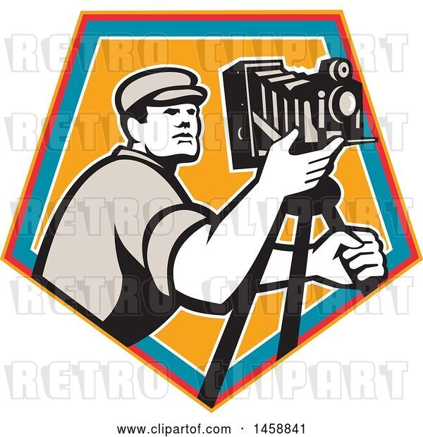 Vector Clip Art of Retro Camera Guy with a Tripod in a Crest