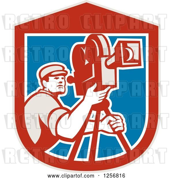 Vector Clip Art of Retro Cameraman Filming in a Red Blue and White Shield