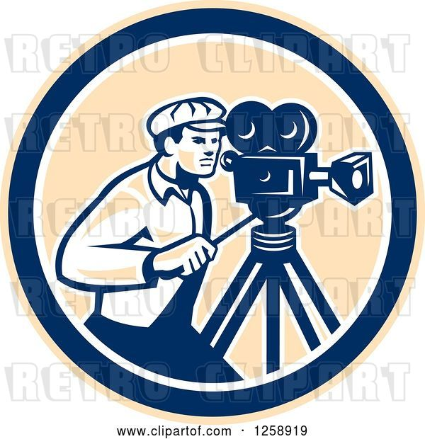 Vector Clip Art of Retro Cameraman Filming in a Tan Blue and White Circle