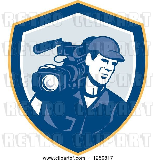Vector Clip Art of Retro Cameraman Filming in a Yellow Blue and White Shield