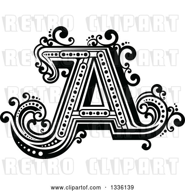 Vector Clip Art of Retro Capital Letter a with Flourishes