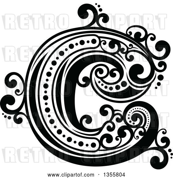 Vector Clip Art of Retro Capital Letter C with Flourishes