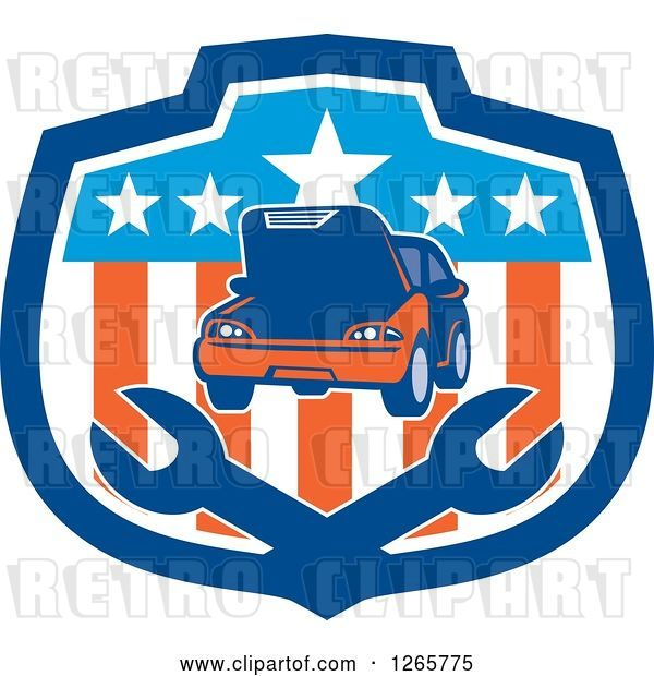 Vector Clip Art of Retro Car and Crossed Wrenches in an American Flag Shield