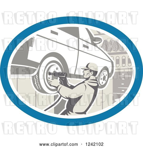 Vector Clip Art of Retro Car Mechanic Working on Tires in a Garage