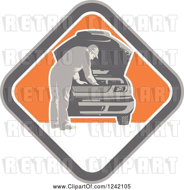 Vector Clip Art of Retro Car Mechanic Working Under the Hood in a Diamond