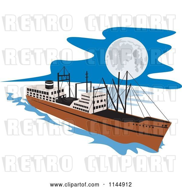 Vector Clip Art of Retro Cargo Carrier Ship at Night