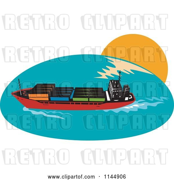 Vector Clip Art of Retro Cargo Carrier Ship with Containers 1