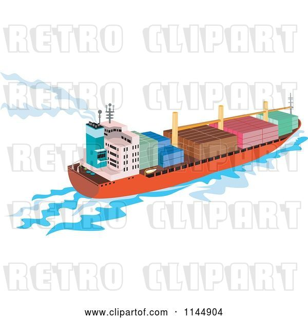 Vector Clip Art of Retro Cargo Carrier Ship with Containers 2