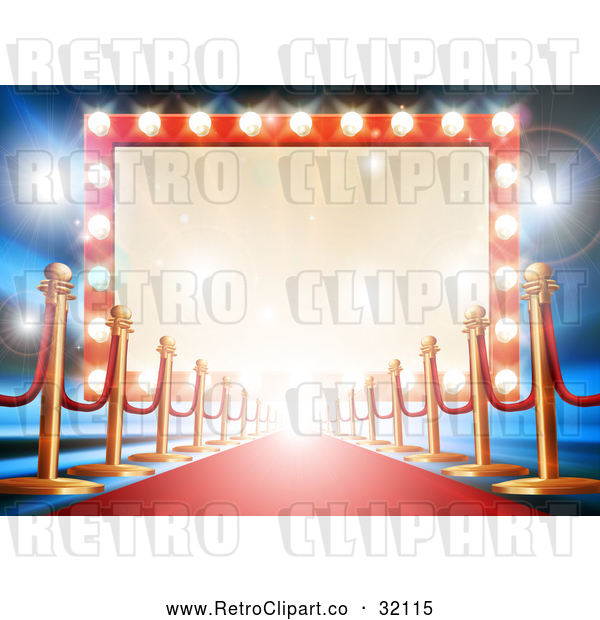 : Vector Clip Art of Retro Carpet and Posts Leading to a Marquee Theater Sign