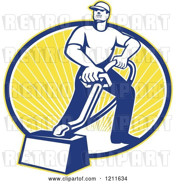 Vector Clip Art of Retro Carpet Cleaner Guy with a Vacuum over an Oval of Sunshine