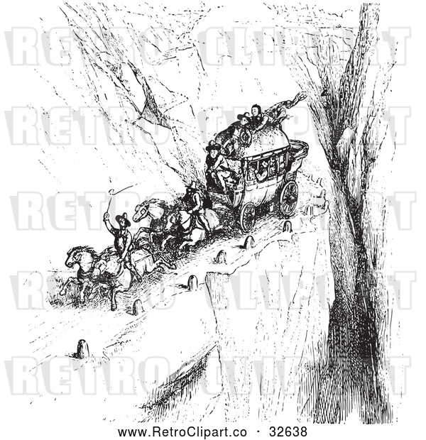 Vector Clip Art of Retro Carriage on a Cliff Road in Black and White