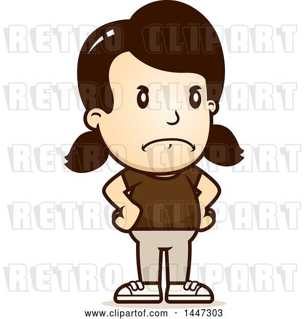 Vector Clip Art of Retro Cartoon Angry White Girl with Hands on Her Hips