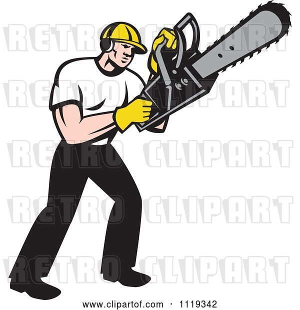 Vector Clip Art of Retro Cartoon Arborist Tree Surgeon or Lumberjack Operating a Chainsaw