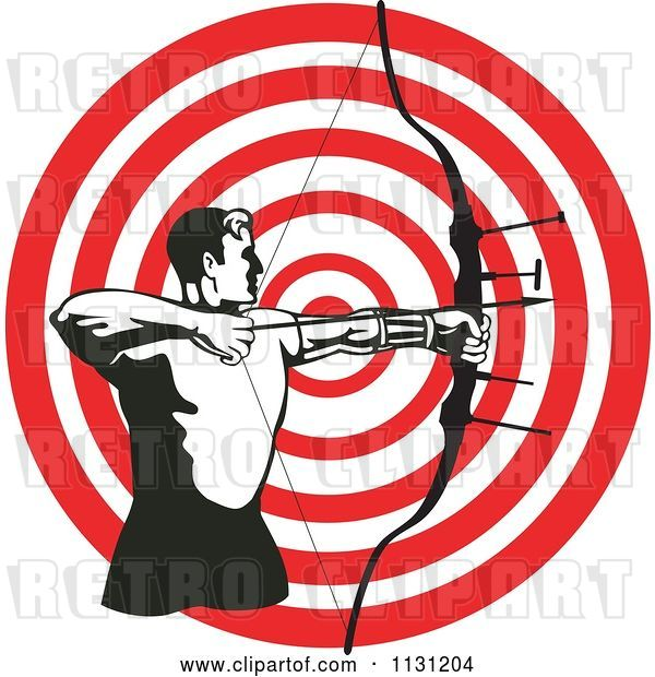 Vector Clip Art of Retro Cartoon Archer Guy Shooting an Arrow over a Target