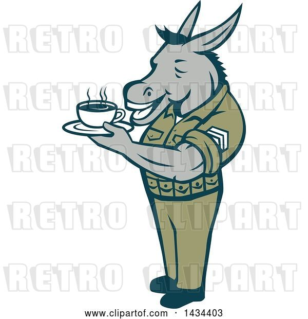 Vector Clip Art of Retro Cartoon Army Sergeant Donkey Holding a Cup of Coffee