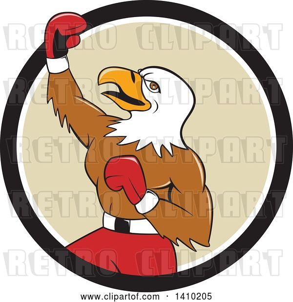 Vector Clip Art of Retro Cartoon Bald Eagle Guy Boxer Pumping His Fist in a Black White and Tan Circle