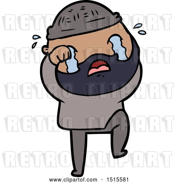Vector Clip Art of Retro Cartoon Bearded Guy Crying and Stamping Foot