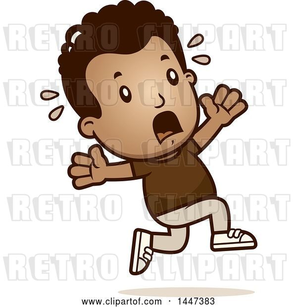 Vector Clip Art of Retro Cartoon Black Boy Running Scared