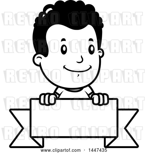 Vector Clip Art of Retro Cartoon Black Boy Smiling over a Blank Ribbon Banner