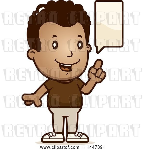 Vector Clip Art of Retro Cartoon Black Boy Talking