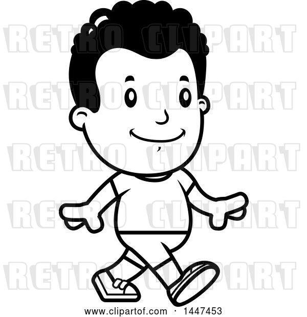 Vector Clip Art of Retro Cartoon Black Boy Walking in Shorts