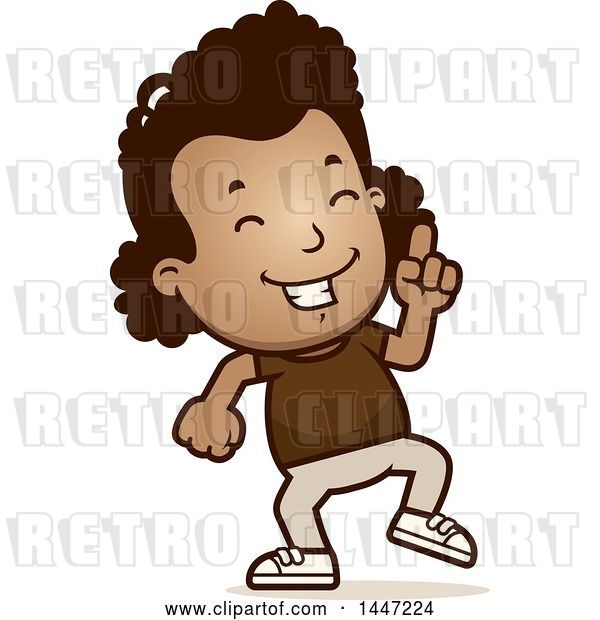 Vector Clip Art of Retro Cartoon Black Girl Doing a Happy Dance