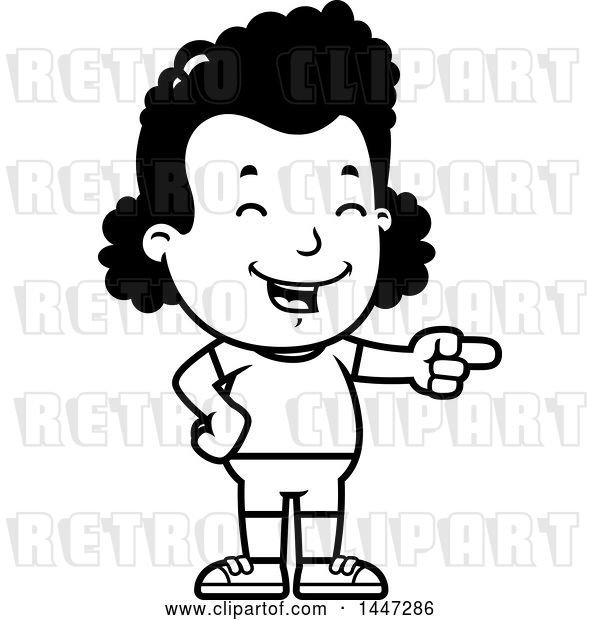 Vector Clip Art of Retro Cartoon Black Girl in Shorts, Laughing and Pointing
