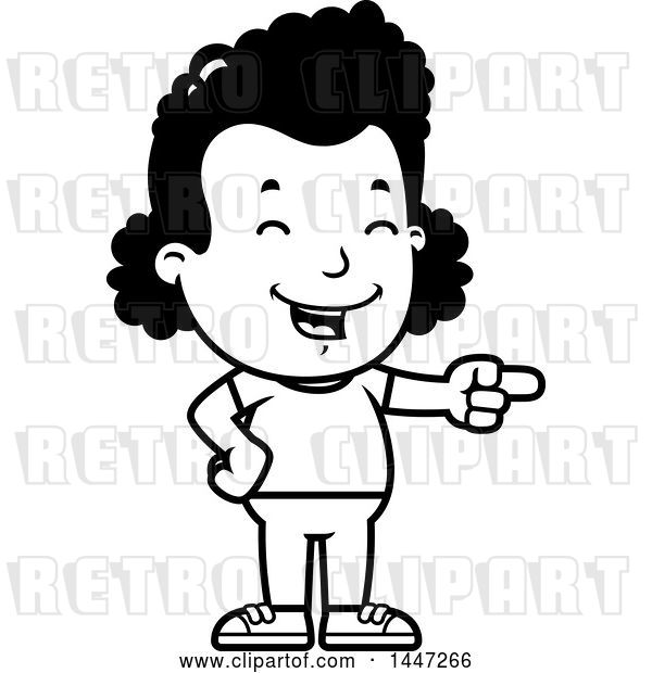 Vector Clip Art of Retro Cartoon Black Girl Laughing and Pointing