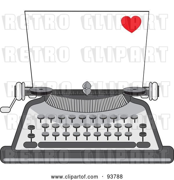 Vector Clip Art of Retro Cartoon Blank Piece of Paper in a Typewriter, a Little Red Heart in the Corner