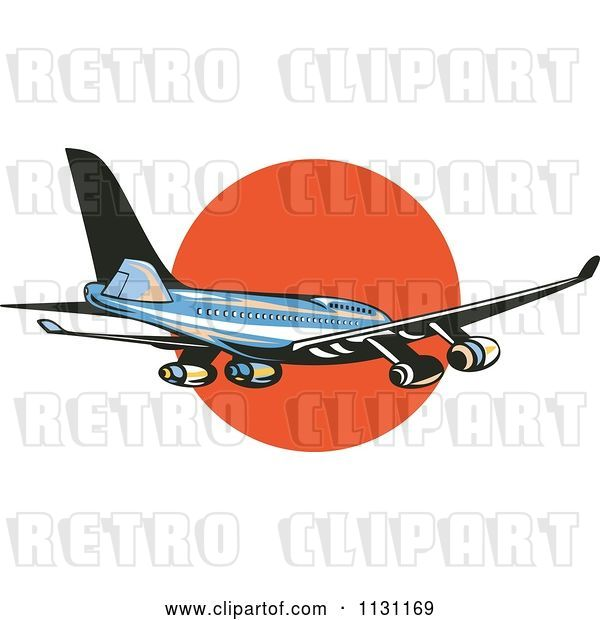 Vector Clip Art of Retro Cartoon Blue Commercial Airliner Plane Against the Sunset