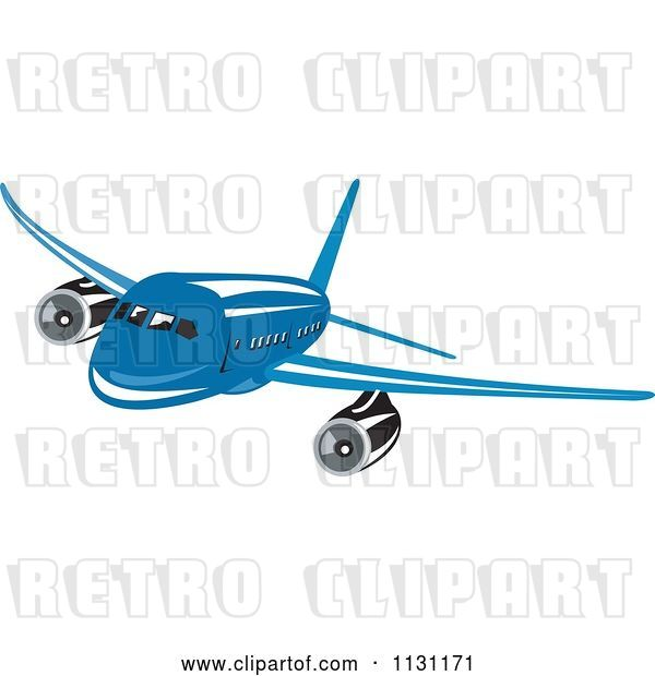 Vector Clip Art of Retro Cartoon Blue Commercial Airliner Plane