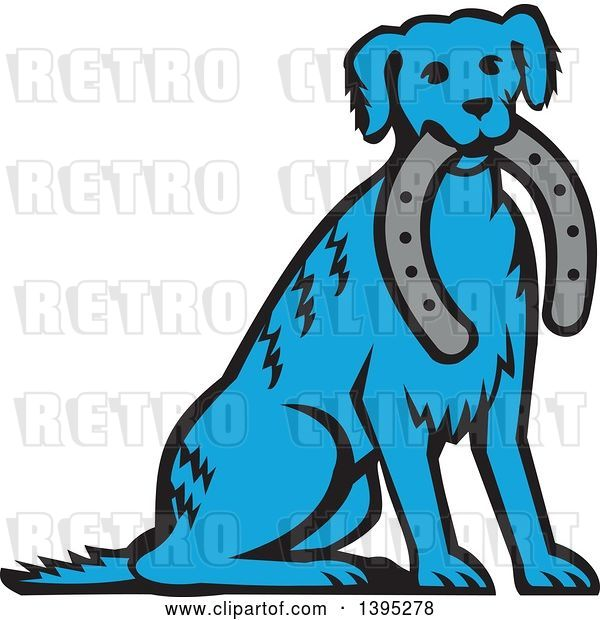 Vector Clip Art of Retro Cartoon Blue Dog Sitting with a Horseshoe in His Mouth