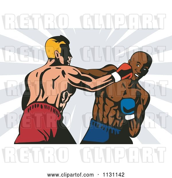 Vector Clip Art of Retro Cartoon Boxers Throwing Punches