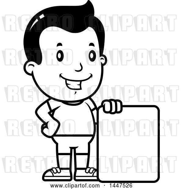 Vector Clip Art of Retro Cartoon Boy in Shorts, with a Blank Sign