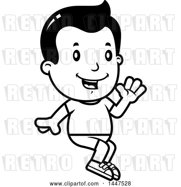 Vector Clip Art of Retro Cartoon Boy Sitting and Waving in Shorts