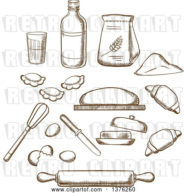 Vector Clip Art of Retro Cartoon Brown Sketched Dough, Milk, Butter, Eggs, Flour and Kitchen Utensils