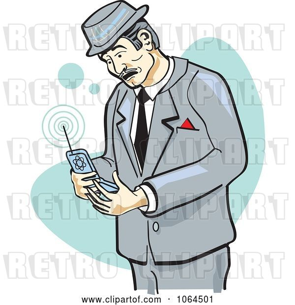 Vector Clip Art of Retro Cartoon Business Man Using a Cell Phone