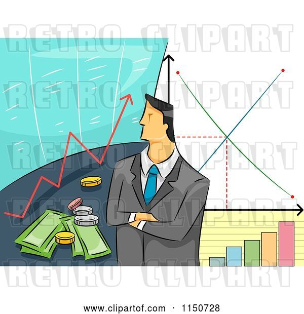 Vector Clip Art of Retro Cartoon Business Man with Stock Graphs and Financial Charts