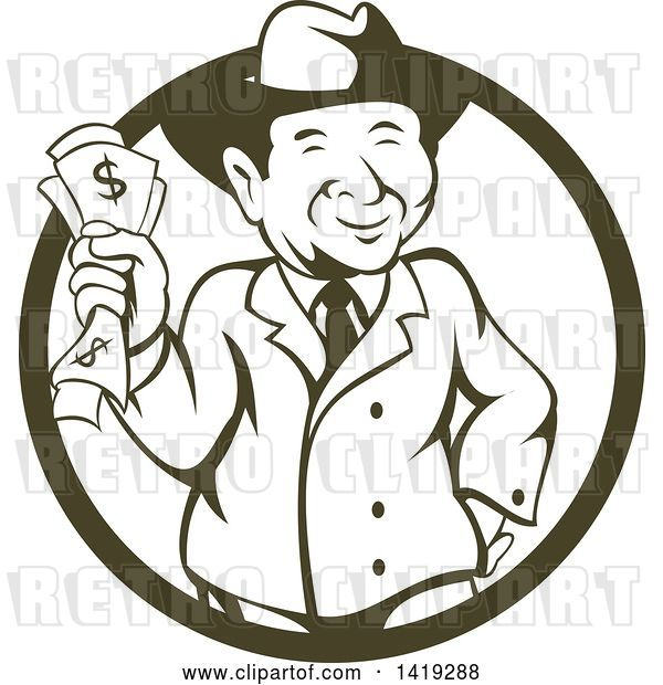 Vector Clip Art of Retro Cartoon Businessman Wearing a Fedora Hat and Holding Cash Money in a Cricle